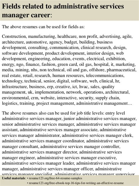 Sample Resume Objectives For Hvac by Top 8 Administrative Services Manager Resume Samples