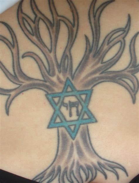jewish tattoo tree of of david chai hebrew