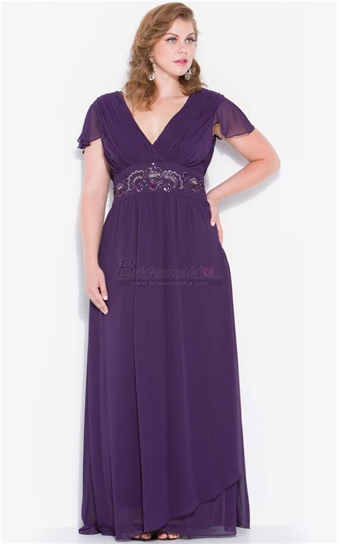 Plus Size Bridesmaid Dress by V Neck Chiffon Regency Plus Size Bridesmaid Dress