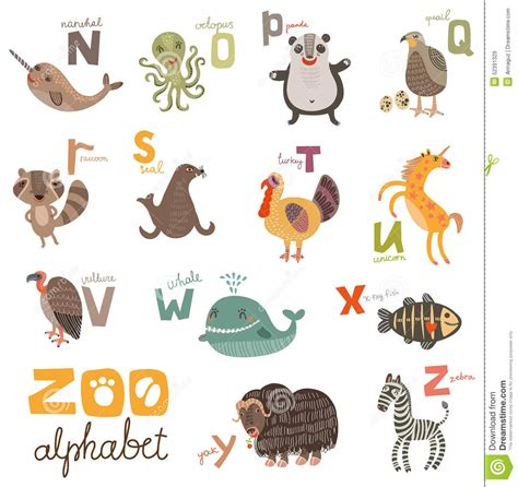 stickers alphabet animals from u to z stock vector bright alphabet set letters with animals stock vector