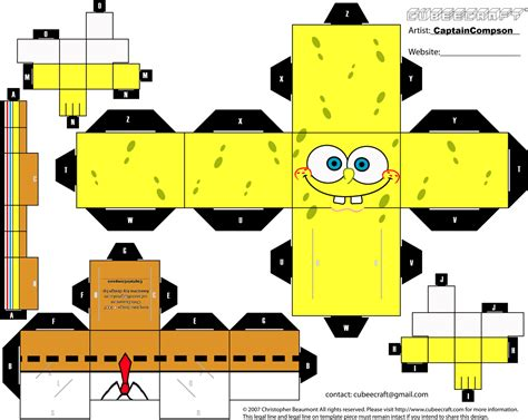 Printable Paper Crafts Templates - cube papercraft spongebob squarepant papercraft