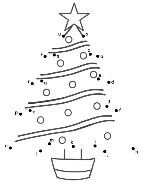 christmas tree connect the dots by lowercase letters
