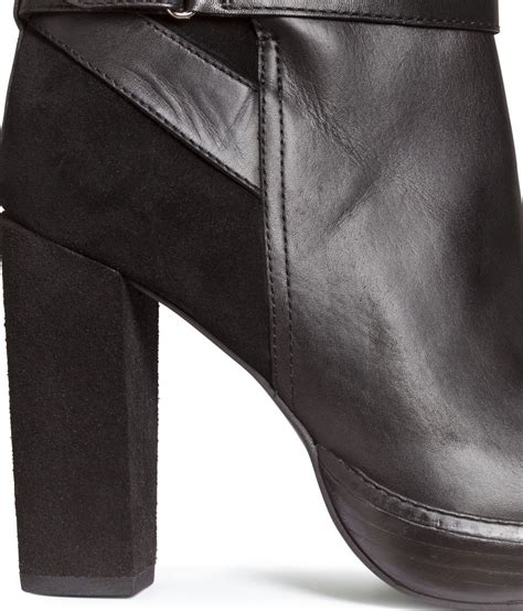 h m leather platform ankle boots in black lyst