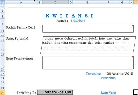 Contoh Kwitansi Pembayaran Excel by Kwitansi Excel Gratis