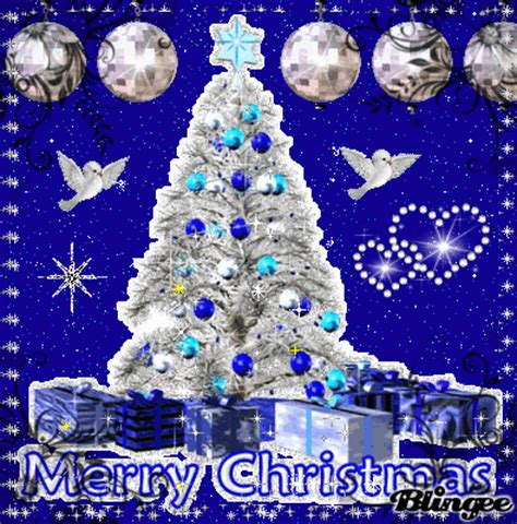 blue merry christmas tree picture  blingeecom