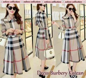 Baju Dress Fashion Wanita Motif baju mini dress pendek fashion wanita motif burberry ala