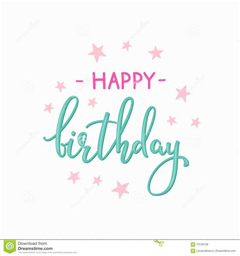 happy birthday message with design happy birthday lettering sign quote typography stock