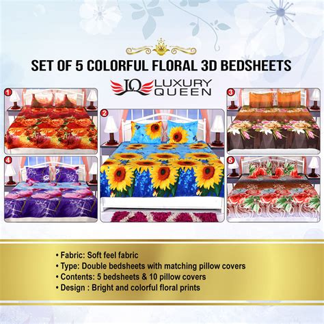 bedsheets buy bedsheets online at best prices in india buy set of 5 colorful floral 3d bedsheets 5bs11 online