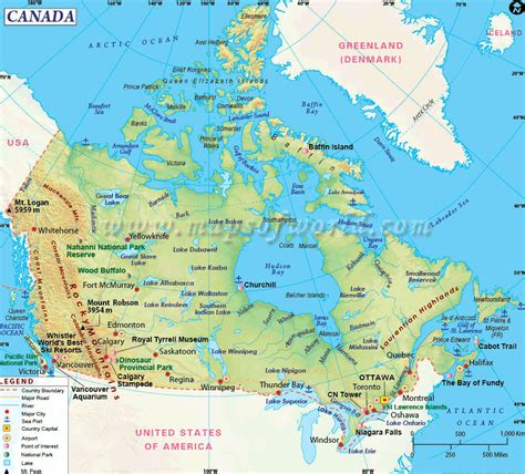 map usa canada cities canada map