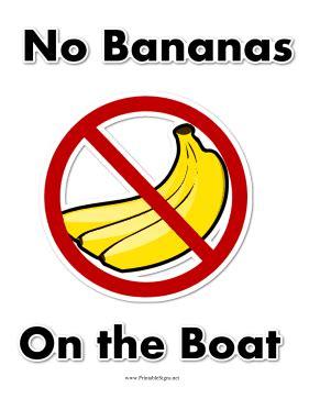 no bananas on the boat printable no bananas on boat sign