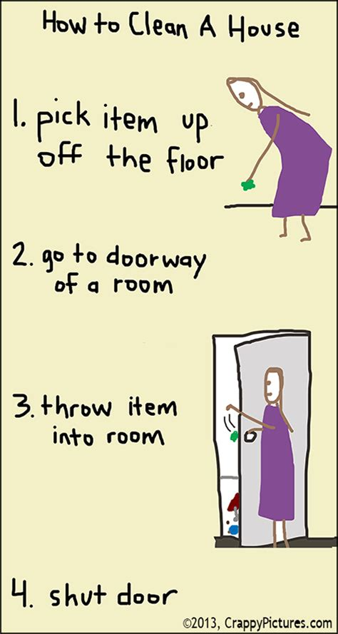 how to clean a home four steps to a clean house illustrated with crappy