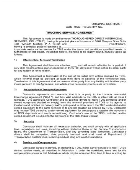 Truck Driver Contract Agreement Truck Driver Contract Agreement Template