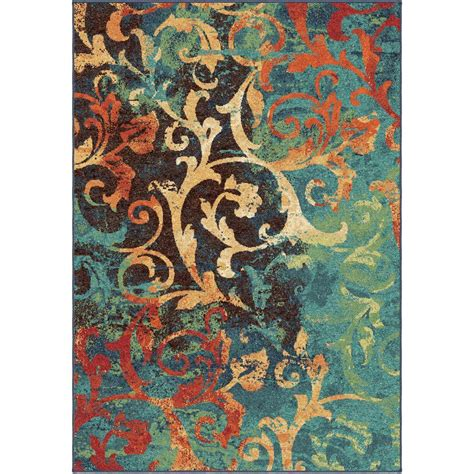 area rugs bright colors orian rugs watercolor scroll multi bright colors 6 ft 7 in x 9 ft 8 in indoor area rug