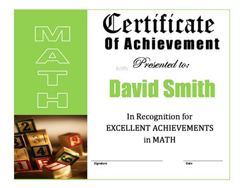 math certificate template achievementcertificatetemplate new calendar template site