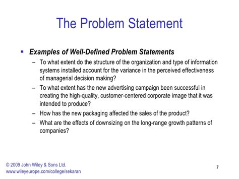 business problem statement template the research process