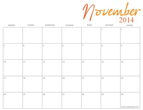 Calendar For November 2014 Free Printable November 2014 Calendars By Shining