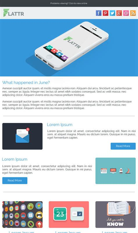 email template for marketing caign 20 best flat style responsive email templates designbeep