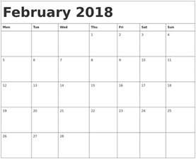 Calendar 2018 Template Pdf February 2018 Calendar Template Monthly Calendar 2017
