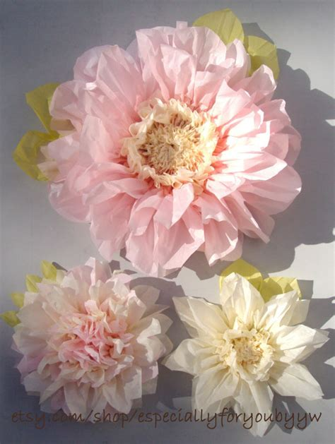 Paper Flower Ideas - set of 3 paper flowers light pink decorations
