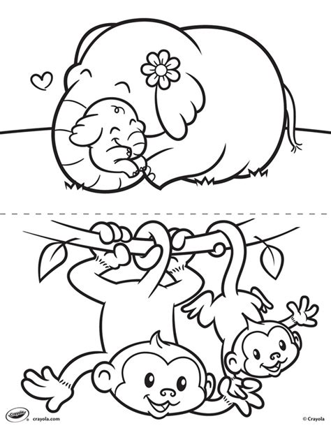 free coloring pages of animals and their babies first pages elephant and monkey coloring page crayola com