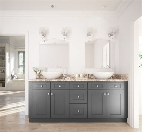 graphite grey shaker ready  assemble bathroom vanities cabinets