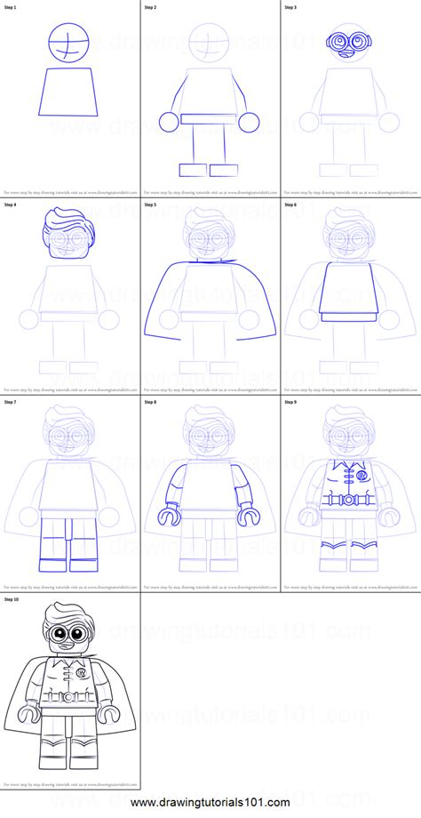 tutorial lego movie how to draw robin from the lego batman movie printable