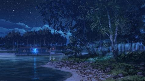 anime landscape android wallpaper wallpaper anime landscape lake night stars trees