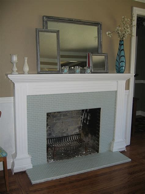 glass tiles fireplaces