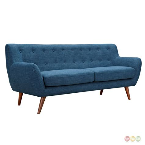 button tufted sofa ida modern blue button tufted upholstered sofa with walnut