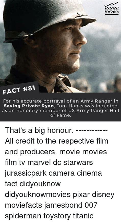 Army Ranger Memes - did you know movies fact 81 for his accurate portrayal of an army ranger in saving private ryan