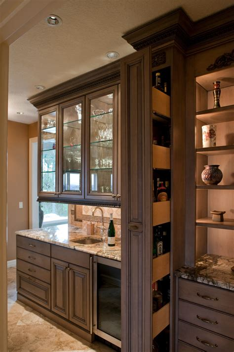 Bar Kitchen Cabinets by Hidden Liquor Cabinet Kitchen Traditional With Appliance