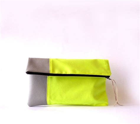 Faux Leather Color Block Pouch clutch purse fold faux leather neon fabric color