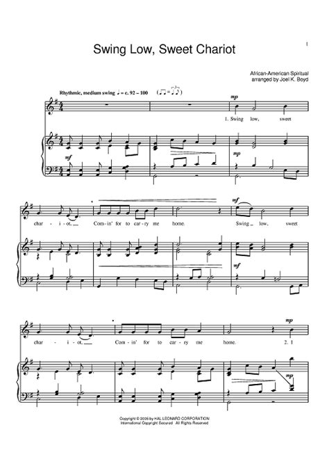 swing low sweet chariot chords piano benny goodman swing low sweet chariot sheet music