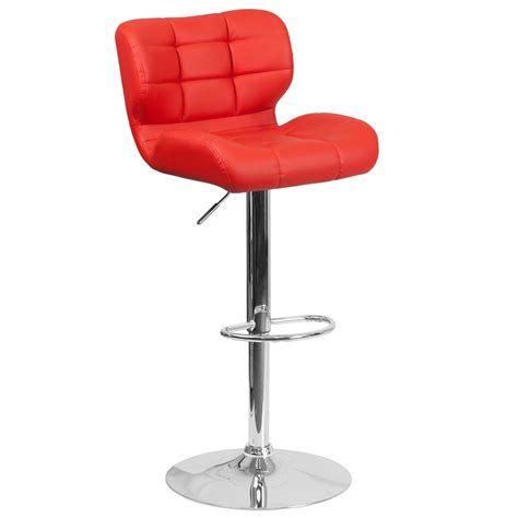 cushioned bar stool flash furniture adjustable height red cushioned bar stool