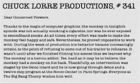 Big Vanity Cards by Chuck Lorre Attacks Monkey Or Sheen We Re Not Really Sure