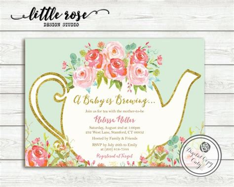 High Tea Baby Shower Invitation Templates by A Baby Is Brewing Baby Shower Tea Invitation