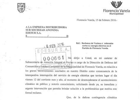 carta formal queja varela al d 237 a carta varelense en queja a edesur