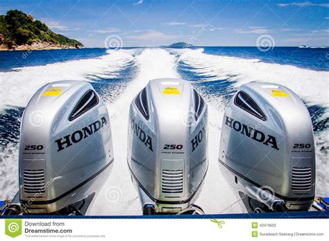 boat engine working speed boats engines with full speed drive editorial