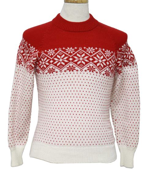 snowflake pattern sweater knit 1980 s retro sweater 80s authentic vintage no label