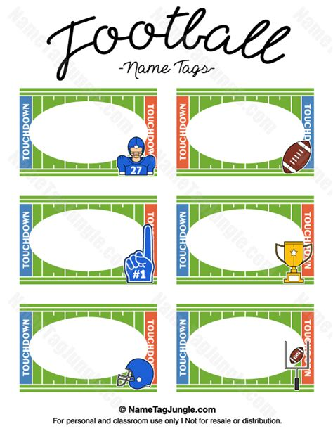 name tag labels template printable football name tags