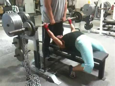bench press chains elitefts com molly edwards dynamic bench press with