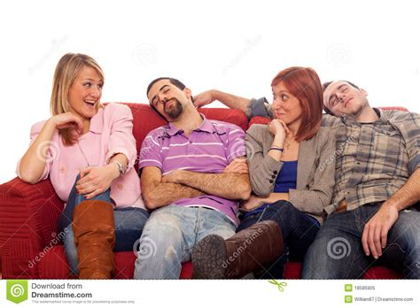 people on couches young people on sofa royalty free stock photo image