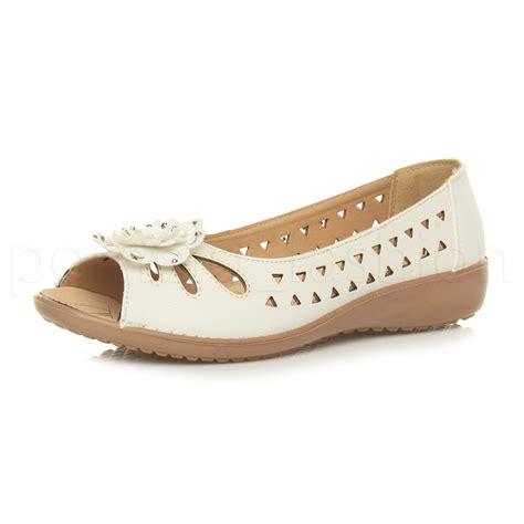 comfortable wedge shoes for walking womens ladies low wedge flower comfort padded walking