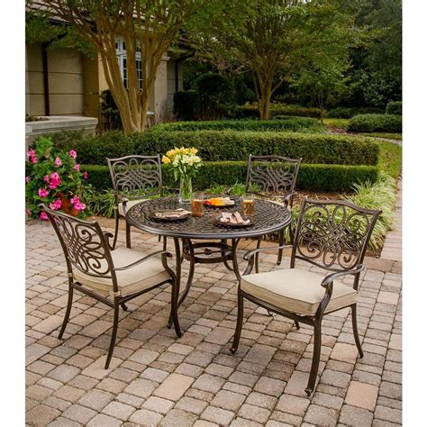 Patio Dining Sets For 4 Hanover Traditions 5 Patio Outdoor Dining Set With 4 Cast Aluminum Dining Chairs And 48 In