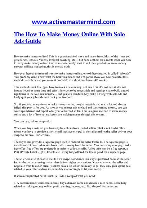 How To Make Money From Online Ads - how to make money online with solo ads