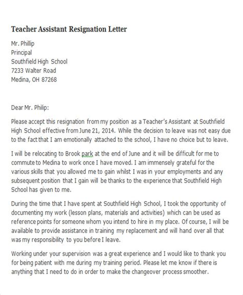Resignation Letter For Leaving Teaching 65 Sle Resignation Letters