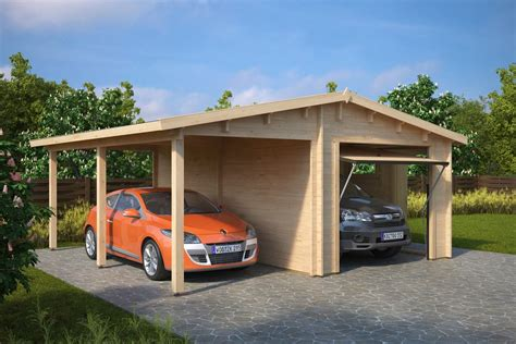 Car Port Garage by Combined Garage And Carport With Up And Door Type G 44mm 6 X 6 M Summer House 24