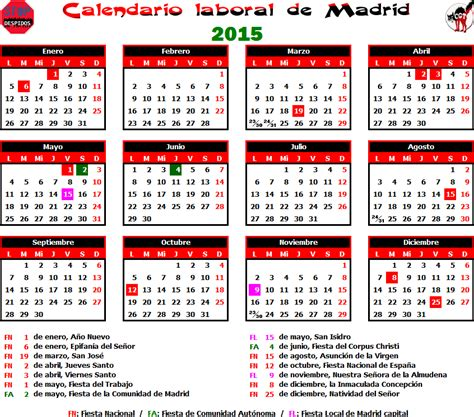 Calendario Con Dias Festivos 2015 Gatos Sindicales Mad Calendario Laboral 2015 Madrid