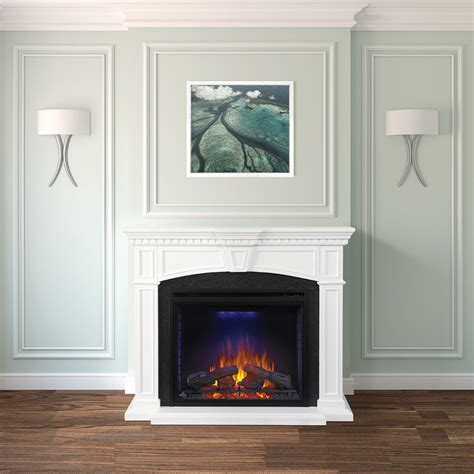 electric fireplace mantel package in white nefp33
