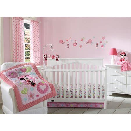 minnie mouse crib bedding nursery set disney baby minnie mouse sitting pretty 3 crib bedding set walmart